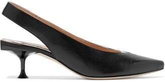 Sergio Rossi Sr Milano Pvc-trimmed Leather Slingback Pumps