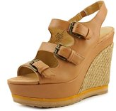 Nine West Wixsono Women US 9.5 Tan Wedge Sandal