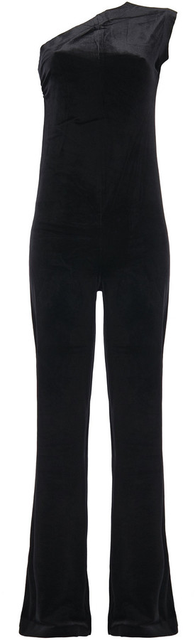 Thumbnail for your product : Norma Kamali One-shoulder Ruched Velvet Wide-leg Jumpsuit