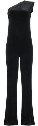 Norma Kamali One-shoulder Ruched Velvet Wide-leg Jumpsuit