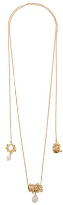 Givenchy Spiral Lasso Crystal & Pearl Necklace - Gold