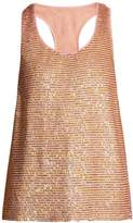 Ashish Striped sequin-embellished silk top