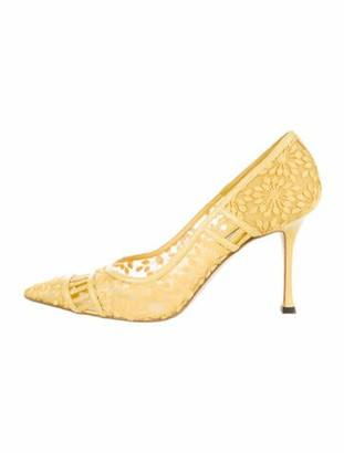 Manolo Blahnik Lace Pattern Embroidered Accent Pumps Yellow