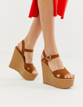 ASOS DESIGN Talia high wedges in tan