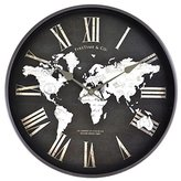 14 in H World Map Wall Clock