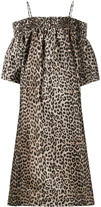 Ganni Off-Shoulder Leopard Dress