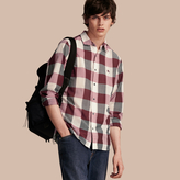 Burberry Oversize Gingham Cotton Linen Shirt, Pink