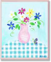 Stupell Industries The Kids Room by Stupell Vase With Flowers and Butterflies on Blue Gingham Tablecloth Rectangle Wall Plaque
