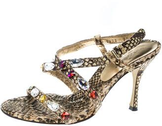 Dolce & Gabbana Beige Python Crystal Embellished Slingback Sandals Size 37