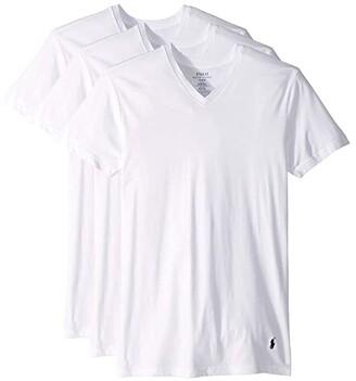 Polo Ralph Lauren Slim Fit w/ Wicking 3-Pack V-Neck (White/Cruise Navy Pony Print) Men's Underwear