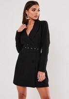 Missguided Black Self Belted Blazer Dress