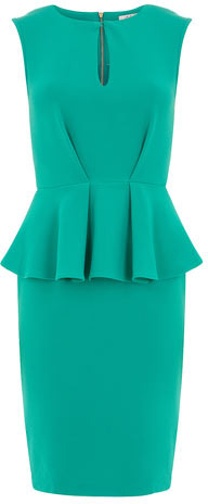 Dorothy Perkins Green split neck peplum dress