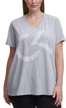 Calvin Klein Plus Size V-Neck Logo Top