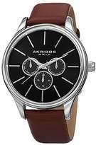 Akribos XXIV Men's AK870BR Round Black Dial Three Hand Quartz Stainless Steel Strap Watch
