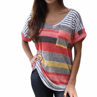 DENGZI Women Fashion V-Neck Stripe Print T-Shirt Short Sleeve Top Pocket Casual Tops Blouse Pink