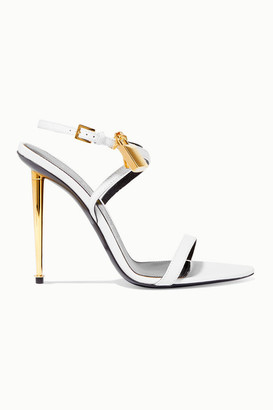 Tom Ford Padlock Embellished Leather Sandals - White