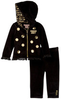 Juicy Couture Lace Trim Velour Hoodie & Pant Set (Baby Girls)