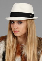 Christy's Hats Felt Fedora with Ribbon in White