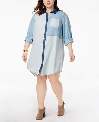 Tommy Hilfiger Plus Size Patchwork Denim Shirtdress