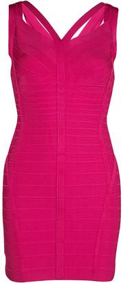 Herve Leger Pink Knit Sleeveless Bandage Dress S