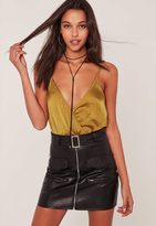 Missguided Yellow Hammered Satin Cami Bodysuit
