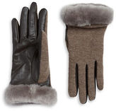 UGG Faux Fur Lined Shearling Cuff Wool-Blend and Leather Gloves