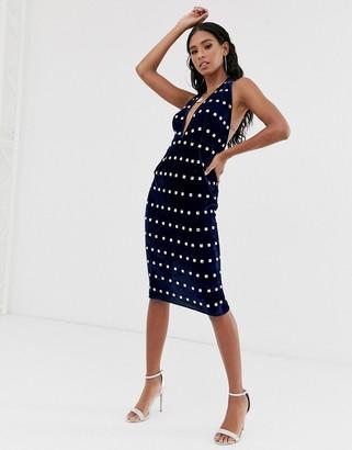 ASOS DESIGN halter neck velvet embellished midi dress