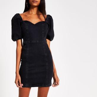 River Island Womens Black puff sleeve fitted denim mini dress