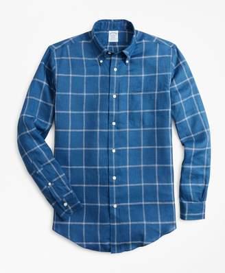Brooks Brothers Regent Fit Double-Windowpane Irish Linen Sport Shirt