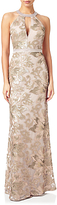 Adrianna Papell Embellished Halterneck Mermaid Gown, Rose Gold