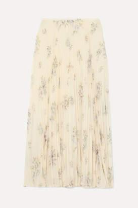 Joseph Abbot Pleated Floral-print Silk-chiffon Midi Skirt - Off-white