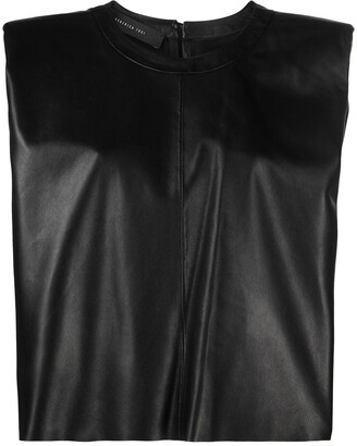 FEDERICA TOSI padded shoulder leather T-shirt
