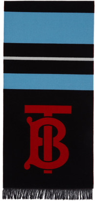 Burberry Blue and Black Stripe Scarf
