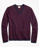 Brooks Brothers Striped Cotton V-Neck Sweater