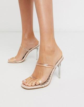 Public Desire Prosecco clear stiletto heel mule sandal in beige patent