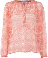 Suncoo Loic Printed Long Sleeve Blouse with Tie