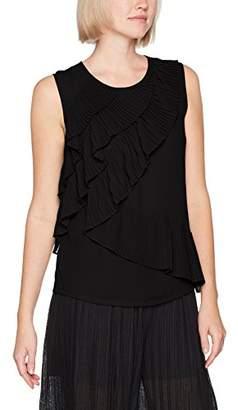 Sisley Women's Sleevless Blouse Top with Ruffles Blouse,Medium