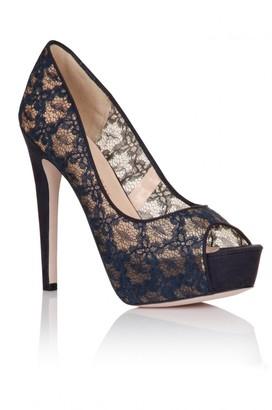 Little Mistress Footwear Navy Floral Lace Peep Toe Heels