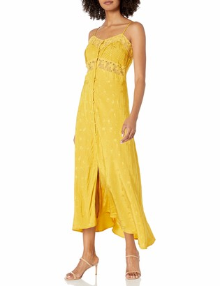 ASTR the Label Women's Sleeveless Button UP V-Neck Dream Catcher MIDI Slip Dress