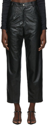 Markoo SSENSE Exclusive Black Vegan Leather The Dropped Pocket Trousers