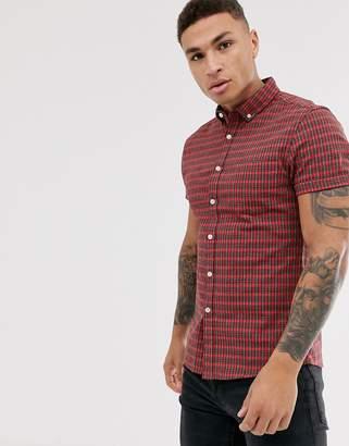 Asos Design DESIGN skinny fit mini check shirt in red
