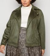 New Look Curves Suedette Biker Jacket