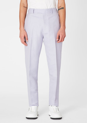 Paul Smith Men's Tapered-Fit Lavender Cotton And Silk-Blend Pants
