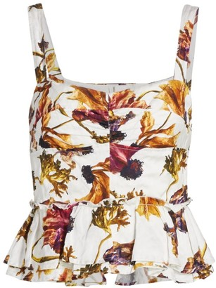 Jason Wu Collection Floral Washed Sateen Peplum Top
