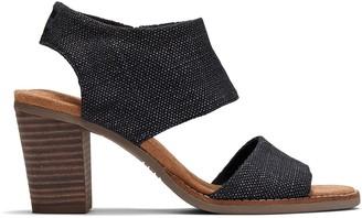Toms Black Foil Woven Women's Majorca Cutout Sandals