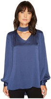 Vince Camuto Long Sleeve Mock Choker Neck V-Neck Blouse Women's Blouse