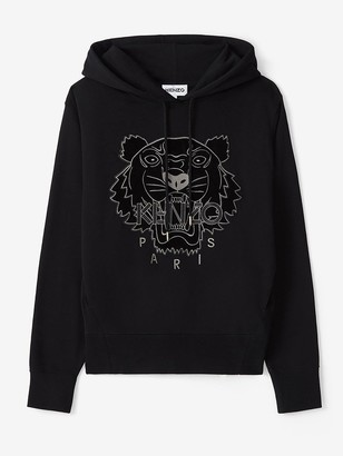 Kenzo Velvet Tiger Head Embroidered Hoodie - Black