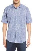 Bugatchi Men's Classic Fit Paisley Print Check Short Sleeve Sport Shirt