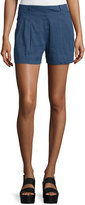 Vince Solid Linen-Blend Shorts, Blue Marine