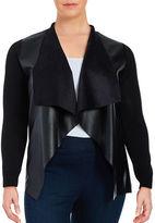 MICHAEL Michael Kors Plus Mixed Media Leatherette Cardigan